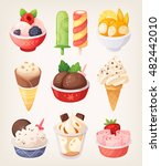 set of colorful ice creams... | Shutterstock .eps vector #482442010
