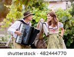 couple in traditional bavarian... | Shutterstock . vector #482444770