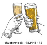 two hands clink a glass of beer ... | Shutterstock . vector #482445478