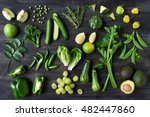 collection of green vegetables... | Shutterstock . vector #482447860