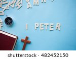 Small photo of Blue background with the Bible book of 1 Peter