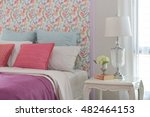 colorful romantic bedding style ... | Shutterstock . vector #482464153