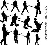 guitarist silhouettes | Shutterstock .eps vector #48246577