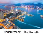 night at the victoria harbor in ... | Shutterstock . vector #482467036