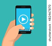 smartphone with video player on ... | Shutterstock .eps vector #482467870