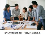 asian business team gathered to ... | Shutterstock . vector #482468566