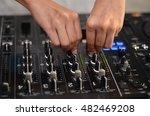 dj hands on equipment deck and... | Shutterstock . vector #482469208