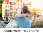Adult Woman Hugs Man. Couple O...