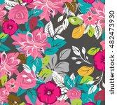 seamless flowers pattern | Shutterstock .eps vector #482473930