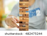 closeup of wood blocks stack... | Shutterstock . vector #482475244