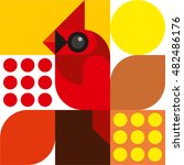 cardinal bird  geometric  bird  ...   Shutterstock .eps vector #482486176