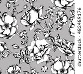 sketched roses seamless pattern ... | Shutterstock .eps vector #482489176