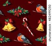 seamless watercolor christmas... | Shutterstock . vector #482499250