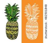 hand drawn vector pineapple.... | Shutterstock .eps vector #482501848