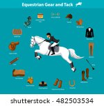 woman riding jumping horse in... | Shutterstock .eps vector #482503534