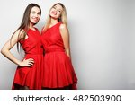 Young Girls In Red Dress On...