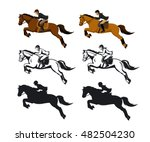 Stock vector man and woman riding jumping horse set in color silhouette and contour isolated vector 482504230