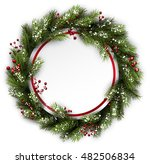 christmas wreath with holly and ... | Shutterstock .eps vector #482506834