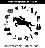 riding horse silhouette.... | Shutterstock .eps vector #482507050