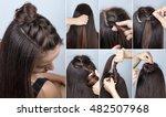 modern hairstyle twisted bun...   Shutterstock . vector #482507968
