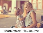 mom with a little girl on a... | Shutterstock . vector #482508790