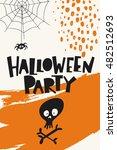 halloween poster  with skull... | Shutterstock .eps vector #482512693
