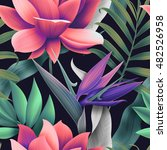 seamless tropical flower  plant ... | Shutterstock . vector #482526958