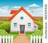 house inside garden ... | Shutterstock .eps vector #482529328