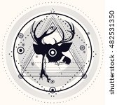 blackwork deer and triangular... | Shutterstock .eps vector #482531350