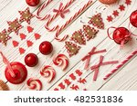 christmas decoration on wooden...   Shutterstock . vector #482531836