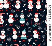 a cute snowmen seamless pattern | Shutterstock .eps vector #482535106