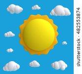 stylized funny cartoon blue sky ... | Shutterstock . vector #482553874