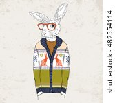 bunny dressed up in jacquard... | Shutterstock .eps vector #482554114
