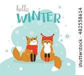 hello winter lettering postcard ... | Shutterstock .eps vector #482558614