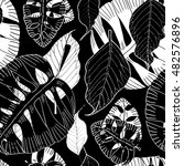 exotic leaves seamless pattern  ... | Shutterstock . vector #482576896