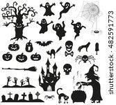 halloween spooky black... | Shutterstock .eps vector #482591773