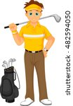 boy cartoon golf player | Shutterstock .eps vector #482594050
