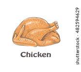 chicken. fried chicken. grilled ... | Shutterstock .eps vector #482594629