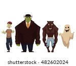 people dressed in monster ... | Shutterstock .eps vector #482602024