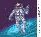 vector illustration cosmonaut   Shutterstock .eps vector #482602816