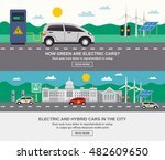electric and hybrid cars in... | Shutterstock .eps vector #482609650