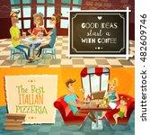 people in restaurant two... | Shutterstock .eps vector #482609746