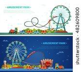 amusement park horizontal flat... | Shutterstock .eps vector #482609800