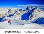 Skier Skiing Downhill Valle...