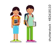 brother and sister school or... | Shutterstock .eps vector #482618110