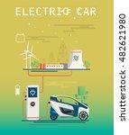 vector image. mini electric car ... | Shutterstock .eps vector #482621980