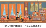 people relax in the cafeteria.... | Shutterstock .eps vector #482626669