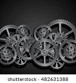 steel gears on a black... | Shutterstock .eps vector #482631388