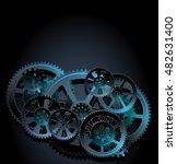 steel gears on a black... | Shutterstock .eps vector #482631400