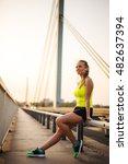 beautiful young sporty girl... | Shutterstock . vector #482637394